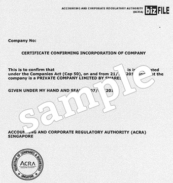Certificate of Company Registration confirmation